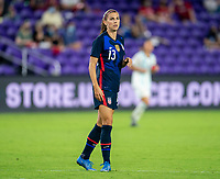 ORLANDO, FL - FEBRUARY 24: Alex Morgan #13 of the USWNT looks to the ball during a game between Argentina and USWNT at Exploria Stadium on February 24, 2021 in Orlando, Florida.