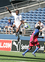 Carlos Palacios jumps up to the ball. Honduras defeated Haiti 1-0 during the First Round of the 2009 CONCACAF Gold Cup at Qwest Field in Seattle, Washington on July 4, 2009.