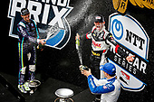 #21: Rinus VeeKay, Ed Carpenter Racing Chevrolet celebrates winning the GMR Grand Prix, #51: Romain Grosjean, Dale Coyne Racing with RWR Honda, #10: Alex Palou, Chip Ganassi Racing Honda