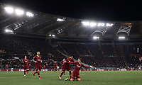 Football, Serie A: AS Roma - US Sassuolo, Olympic stadium, Rome, December 26, 2018. <br /> Roma's Nicolò Zaniolo (r) celebrates after scoring with his teammates during the Italian Serie A football match between Roma and Sassuolo at Rome's Olympic stadium, on December 26, 2018.<br /> UPDATE IMAGES PRESS/Isabella Bonotto