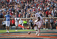 Arkansas quarterback KJ Jefferson (1) scores, Saturday, October 9, 2021 during the fourth quarter of a football game at Vaught Hemingway Stadium in Oxford, Miss. Check out nwaonline.com/211010Daily/ for today's photo gallery. <br /> (NWA Democrat-Gazette/Charlie Kaijo)