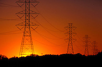 Power lines at sunset.