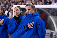 HOUSTON, TX - JANUARY 31: Alyssa Naeher #1 of the United States stands during the national anthem during a game between Panama and USWNT at BBVA Stadium on January 31, 2020 in Houston, Texas.