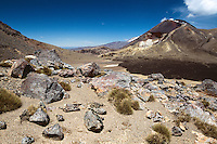 Alpine crossing of volcanic landscape with Mount Ngauruhoe in background, Tongariro National Park, Central Plateau, North Island, New Zealand