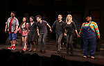 "Nick Kohn, Grace Choi, Veronica J. Kuehn, Matt Dengler, Jason Jacoby, Jamie Glickman and Lacretta during ""Avenue Q"" Celebrates World Puppetry Day at The New World Stages on 3/21/2019 in New York City."