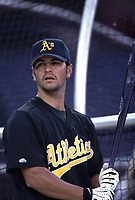 Eric Chavez of the Oakland Athletics during a 2000 season MLB game against the  Los Angeles Angels at Angel Stadium in Anaheim, California. (Larry Goren/Four Seam Images)