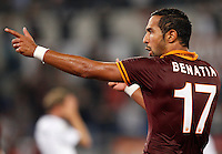 Calcio, Serie A: Roma vs Bologna. Roma, stadio Olimpico, 29 settembre 2013.<br /> AS Roma defender Mehdi Benatia, of Morocco, celebrates after scoring during the Italian Serie A football match between AS Roma and Bologna at Rome's Olympic stadium, 29 September 2013.<br /> UPDATE IMAGES PRESS/Riccardo De Luca