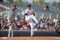 Peoria Javelinas relief pitcher Anthony Misiewicz (56), of the Seattle Mariners organization, delivers a pitch during the Arizona Fall League Championship Game against the Salt River Rafters at Scottsdale Stadium on November 17, 2018 in Scottsdale, Arizona. Peoria defeated Salt River 3-2 in 10 innings. (Zachary Lucy/Four Seam Images)