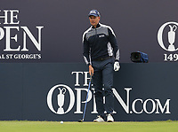 14th July 2021; The Royal St. George's Golf Club, Sandwich, Kent, England; The 149th Open Golf Championship, practice day; Henrik Stenson (SWE) prepares to hit his tee shot on the 1st hole