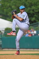 Miguel Gonzalez (25) of the Reading Fightin Phils pitches during a game against the New Britain Rock Cats at New Britain Stadium on July 13, 2014 in New Britain, Connecticut.  Reading defeated New Britain 6-4.  (Gregory Vasil/Four Seam Images)