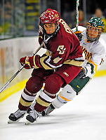 9 January 2009: Boston College Eagles' defenseman Tommy Cross, a Freshman from Simsbury, CT, in action during the first game of a weekend series against the University of Vermont Catamounts at Gutterson Fieldhouse in Burlington, Vermont. The Catamounts scored with one second remaining in regulation time to earn a 3-3 tie with the visiting Eagles. Mandatory Photo Credit: Ed Wolfstein Photo