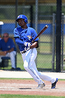 GCL Blue Jays outfielder Andres De Aza (31) at bat during a game against the GCL Yankees 2 on July 2, 2014 at the Bobby Mattick Complex in Dunedin, Florida.  GCL Yankees 2 defeated GCL Blue Jays 9-6.  (Mike Janes/Four Seam Images)