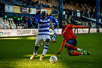 9th January 2021; Kenilworth Road, Luton, Bedfordshire, England; English FA Cup Football, Luton Town versus Reading; Sone Aluko of Reading is slide tackled by Brendan Galloway of Luton Town.
