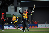 Wellington's Devon Conway celebrates victory during the Dream11 Super Smash T20 men's cricket final between Wellington Firebirds and Canterbury Kings at the Basin Reserve in Wellington, New Zealand on Saturday, 13 February 2021. Photo: Dave Lintott / lintottphoto.co.nz