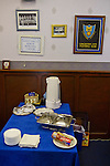 Lancaster City 0 FC Halifax Town 3, 15/10/2011, Giant Axe, FA Cup Third Qualifying Round. Refreshments laid out on a table of the boardroom at Lancaster City's Giant Axe ground prior to the club's FA Cup third qualifying round match against FC Halifax Town. The visitors, who play two leagues above their hosts in the English football pyramid, won the ties by three goals to nil, watched by a crowd of 646 spectators. Lancaster City were celebrating their centenary in 2011, although there was a dispute over the exact founding date over the club known as Dolly Blue. Photo by Colin McPherson.
