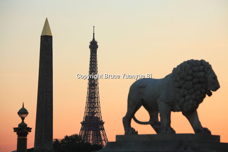 The evening light over a statue of a lion and Obelisk in Concorde Square Place de la Concorde with Eiffel Tower in the background. Paris. France