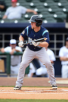 Corpus Christi Hooks second baseman Nolan Fontana (4) looks to bunt during a game against the NW Arkansas Naturals on May 26, 2014 at Arvest Ballpark in Springdale, Arkansas.  NW Arkansas defeated Corpus Christi 5-3.  (Mike Janes/Four Seam Images)