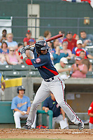 Potomac Nationals infielder Edwin Lora (10) at bat during a game against the Myrtle Beach Pelicans at Ticketreturn.com Field at Pelicans Ballpark on July 1, 2018 in Myrtle Beach, South Carolina. Myrtle Beach defeated Potomac 6-1. (Robert Gurganus/Four Seam Images)