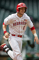Nebraska Cornhuskers catcher Tanner Lubach (8) runs to first base during the NCAA baseball game against the Hawaii Rainbow Warriors on March 7, 2015 at the Houston College Classic held at Minute Maid Park in Houston, Texas. Nebraska defeated Hawaii 4-3. (Andrew Woolley/Four Seam Images)