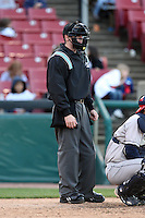 April 17 2010: Home plate umpire Asa Gaddy at Elfstrom Stadium in Geneva, IL. Photo by: Chris Proctor/Four Seam Images