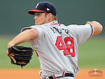 July 8, 2009: RHP J.J. Hoover (48) of the Rome Braves, No. 24 prospect of the Atlanta Braves, in a game against the Greenville Drive on July 8, 2009, at Fluor Field at the West End in Greenville, S.C. (Tom Priddy/Four Seam Images)