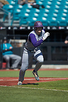 Michael Goehrig (10) of the Western Carolina Catamounts starts down the first base line against the Kennesaw State Owls at Springs Brooks Stadium on February 22, 2020 in Conway, South Carolina. The Owls defeated the Catamounts 12-0.  (Brian Westerholt/Four Seam Images)