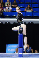 LOS ANGELES, CA - April 19, 2013:  Stanford's Shona Morgan competes on beam during the NCAA Championships at UCLA.