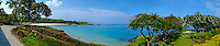Panoramic view of Manua Kea beach and oceanfront from Mauna Kea Beach Hotel