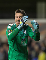 Goalkeeper Ibrahim Sehic of Qarabag FK reaction as he receives a yellow card during the UEFA Europa League match between Tottenham Hotspur and Qarabag FK at White Hart Lane, London, England on 17 September 2015. Photo by Andy Rowland.