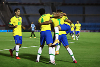 17th November 2020; Centenario Stadium, Montevideo, Uruguay; Fifa World Cup 2022 Qualifying football; Uruguay versus Brazil; Players of Brazil celebrate the scored goal by Richarlison in the 45th minute 0-2