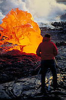 Lava bubble at ocean. Hawaii, Volcanoes National Park.