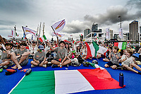 16th March 2021; Waitemata Harbour, Auckland, New Zealand;  Luna Rossa Prada Pirelli fans. 36th America's Cup Race Village, Auckland Viaduct, New Zealand
