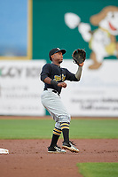 West Virginia Black Bears second baseman Melvin Jimenez (7) waits to receive a throw during a game against the State College Spikes on August 30, 2018 at Medlar Field at Lubrano Park in State College, Pennsylvania.  West Virginia defeated State College 5-3.  (Mike Janes/Four Seam Images)