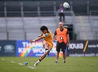 31st August 2020; Recreation Ground, Bath, Somerset, England; English Premiership Rugby, Bath versus Wasps; Jacob Umaga of Wasps kicks a penalty