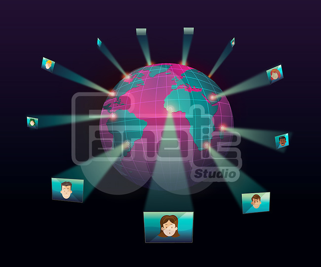 Globe representing human networking over black background