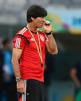 Germany coach Joachim Loew picks his nose during training ahead of tomorrow's semi final vs Brazil