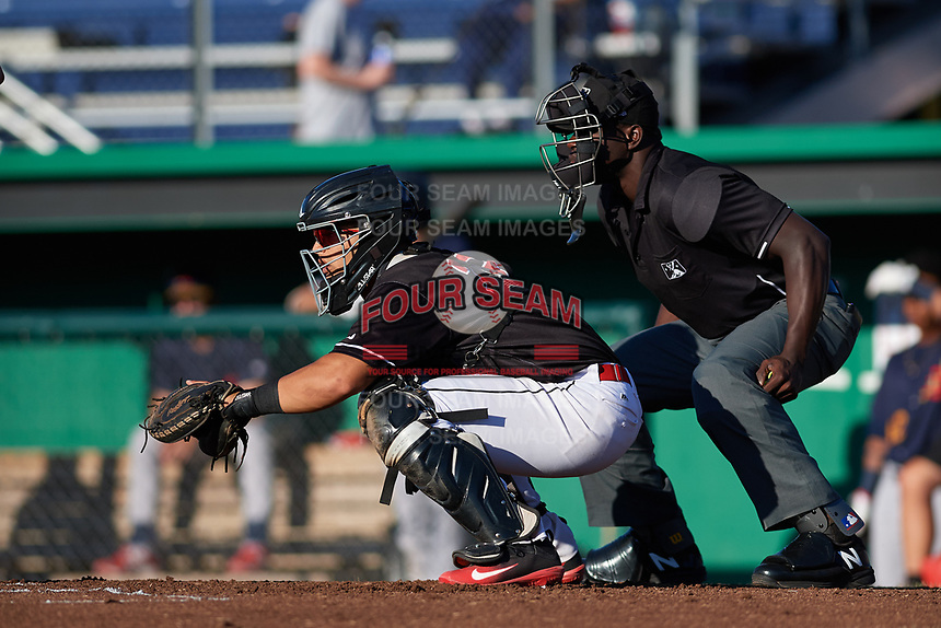 Batavia Muckdogs catcher Igor Baez (29) and umpire James Jean await the pitch during a game against the State College Spikes on July 7, 2018 at Dwyer Stadium in Batavia, New York.  State College defeated Batavia 7-4.  (Mike Janes/Four Seam Images)