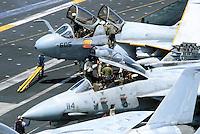 """- F 14 """"Tomcat"""" fighter aircraft and a  A 6 """"Prowler """" on Nimitz aircraft carrier....- aerei da caccia F 14 """"Tomcat"""" e un A 6 """"Prowler """" a bordo della portaerei Nimitz.."""