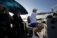 San Diego, CA, USA.  Thursday, July 15, 2010:  Divers Patrick (L), Jim Kinane and Mike Bear head out of Mission Bay to dive the Wreck of the Yukon on the tenth anniversary of it's sinking.  The wreck was prepared and sunk to form an artificial reef for recreational divers to enjoy.