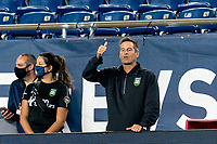 FOXBOROUGH, MA - AUGUST 26: Greenville Triumph SC coach John Harkes acknowledges good play during a game between Greenville Triumph SC and New England Revolution II at Gillette Stadium on August 26, 2020 in Foxborough, Massachusetts.