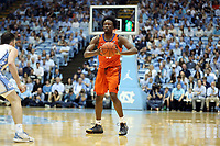 CHAPEL HILL, NC - JANUARY 11: John Newman III #15 of Clemson University looks to pass the ball during a game between Clemson and North Carolina at Dean E. Smith Center on January 11, 2020 in Chapel Hill, North Carolina.