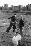 Hoxton area Tower Hamlets east London. Kids throwing stones. 1978 UK<br /> <br /> My ref 20a/3520/.1978