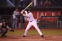 Lansing Lugnuts Johnny Aiello (4) at bat during a Midwest League game against the Wisconsin Timber Rattlers at Cooley Law School Stadium on May 2, 2019 in Lansing, Michigan. Lansing defeated Wisconsin 10-4. (Zachary Lucy/Four Seam Images)