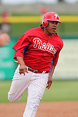 Philadelphia Phillies Delwyn Young #24 during a scrimmage vs the Florida State Seminoles  at Bright House Field in Clearwater, Florida;  February 24, 2011.  Philadelphia defeated Florida State 8-0.  Photo By Mike Janes/Four Seam Images