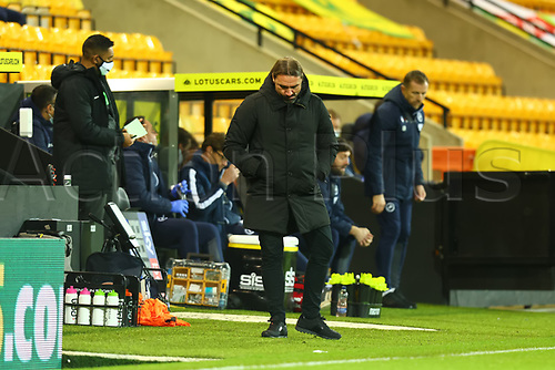 3rd November 2020; Carrow Road, Norwich, Norfolk, England, English Football League Championship Football, Norwich versus Millwall; A dejected Norwich City Manager Daniel Farke as Norwich fail to find a goal
