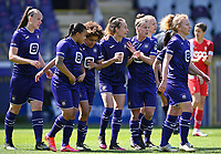 Tessa Wullaert (27) of Anderlecht pictured celebrating with teammates after scoring a goal during a female soccer game between RSC Anderlecht Dames and Standard Femina De Liege on the third matchday of play off 1 of the 2020 - 2021 season of Belgian Womens Super League , saturday 24 th of April 2021  in Brussels , Belgium . PHOTO SPORTPIX.BE | SPP | DAVID CATRY