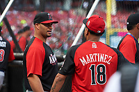 Los Angeles Angels Albert Pujols talks with St. Louis Cardinals Carlos Martinez during practice before the MLB All-Star Game on July 14, 2015 at Great American Ball Park in Cincinnati, Ohio.  (Mike Janes/Four Seam Images)