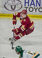 20 February 2016: Boston College Eagle Forward Zach Sanford, a Sophomore from Manchester, NH, in action during the third period against the University of Vermont Catamounts at Gutterson Fieldhouse in Burlington, Vermont. The Eagles defeated the Catamounts 4-1 in the second game of their weekend series. Mandatory Credit: Ed Wolfstein Photo *** RAW (NEF) Image File Available ***