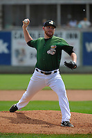 Clinton LumberKings Zack Littell (36) throws during the Midwest League game against the Beloit Snappers at Ashford University Field on June 12, 2016 in Clinton, Iowa.  The LumberKings won 1-0.  (Dennis Hubbard/Four Seam Images)