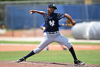 GCL Yankees 2 pitcher Jonathan Padilla (90) delivers a pitch during a game against the GCL Blue Jays on July 2, 2014 at the Bobby Mattick Complex in Dunedin, Florida.  GCL Yankees 2 defeated GCL Blue Jays 9-6.  (Mike Janes/Four Seam Images)